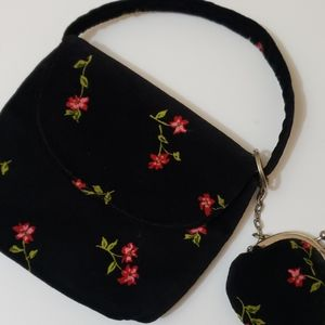 Vintage Old Navy Black w Red Flowers Small Purse
